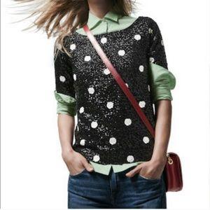 J. Crew Polka Dot Sequin Shirt
